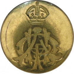 11th Hussars (Prince Albert's Own) 22.5mm Flat Indented with King's Crown. Brass Military uniform button