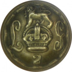 2nd Life Guards 16mm - 1902-1922 with King's Crown. Brass Military uniform button