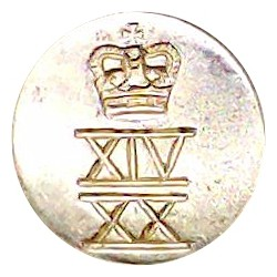 East Surrey Regiment 26mm - Gold Colour with Queen Elizabeth's Crown. Anodised Staybrite military uniform button