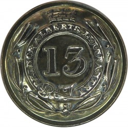 13th (1st Somersetshire) (Prince Albert's Light Inf) 19mm - 1855-1881  Gilt Military uniform button