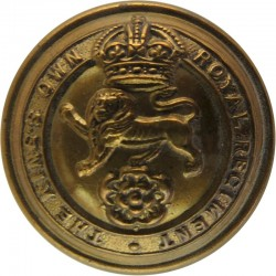 King's Own Royal Regiment (Lancaster) 25.5mm - 1920-1952 with King's Crown. Brass Military uniform button