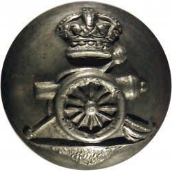 Royal Artillery (Volunteers) 17mm - 1902-1908 with King's Crown. White Metal Military uniform button