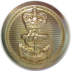 Royal Navy - Ratings (Plain Rim) 14mm - Post-1952 with Queen Elizabeth's Crown. Gilt Military uniform button
