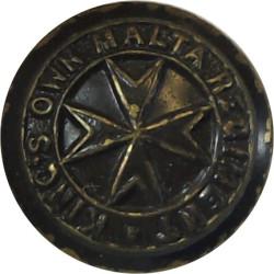 King's Own Malta Regiment - Painted Brown 13.5mm  Brass Military uniform button
