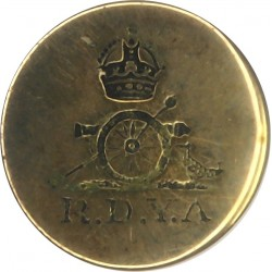 296th (Royal Devon Yeomanry Artillery) Field Regt RA 16mm Flat Indented with King's Crown. Brass Military uniform button