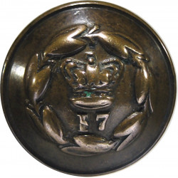 17th (Leicestershire) Regiment Of Foot - Rubbed 19mm - 1855-1881 with Queen Victoria's Crown. Brass Military uniform button