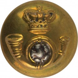 King's Own Yorkshire Light Infantry - Officers' 18.5mm Mounted Dome with Queen Victoria's Crown. Silver-plate and gilt Military