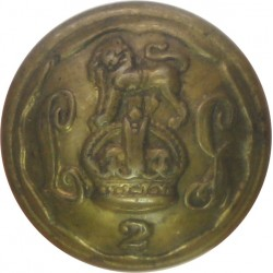 2nd Life Guards 15.5mm - 1902-1922 with King's Crown. Brass Military uniform button