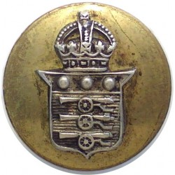 Royal Army Ordnance Corps - No Lettering 19mm Flat Mounted with King's Crown. Silver-plate and gilt Military uniform button