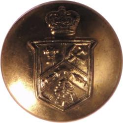 12e Regiment Blinde Du Canada 17mm - 1952-1968 with Queen Elizabeth's Crown. Gilt Military uniform button