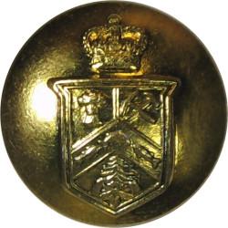 12e Regiment Blinde Du Canada 19mm - 1952-1968 with Queen Elizabeth's Crown. Gilt Military uniform button