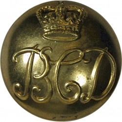 British Columbia Dragoons 25mm - 1952-1968 with Queen Elizabeth's Crown. Brass Military uniform button