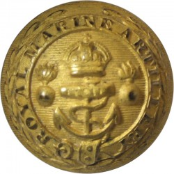 Royal Marine Artillery - Officer Quality - Dead Gilt 24.5mm - 1902-1923 with King's Crown. Gilt Military uniform button