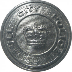 Hull City Police - Crown Centre 25mm - 1952-1974 with Queen Elizabeth's Crown. Horn Police or Prisons uniform button