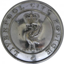 Liverpool City Police 24mm - 1952-1967 with Queen Elizabeth's Crown. Chrome-plated Police or Prisons uniform button