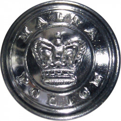 Malta Police (Words Around Crown) 16.5mm with Queen Elizabeth's Crown. Chrome-plated Police or Prisons uniform button