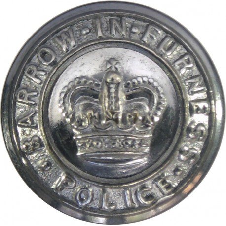 Barrow-In-Furness County Borough Police 17.5mm - 1952-1969 with Queen Elizabeth's Crown. Chrome-plated Police or Prisons uniform