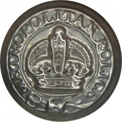 Metropolitan Police (London) - Name On Belt 17mm with King's Crown. White Metal Police or Prisons uniform button