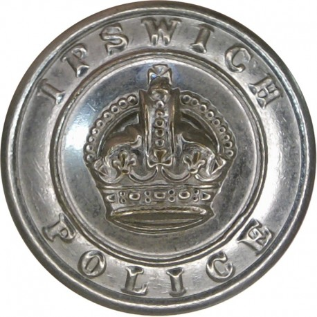Ipswich Police 24.5mm - Pre-1952 with King's Crown. Chrome-plated Police or Prisons uniform button