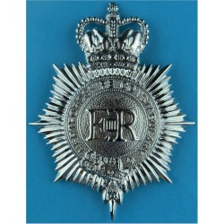 Cleveland Constabulary - Coat Of Arms Centre Cap Badge Queen's Crown. Chrome-plated Police or Prisons hat badge