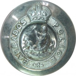 Barbados Police 16.5mm - Pre-1952 with King's Crown. Silver-plated Police or Prisons uniform button