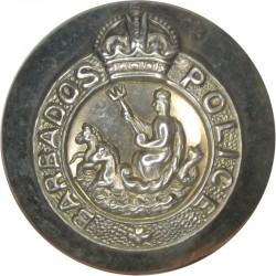 Barbados Police 26mm - Pre-1952 with King's Crown. Silver-plated Police or Prisons uniform button