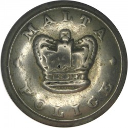 Malta Police - Without Inner Ring - Rubbed 23mm - Pre-1901 with Queen Victoria's Crown. White Metal Police or Prisons uniform bu