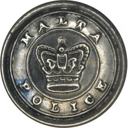 Malta Police - With Inner Ring 16.5mm - Pre-1901 with Queen Victoria's Crown. White Metal Police or Prisons uniform button