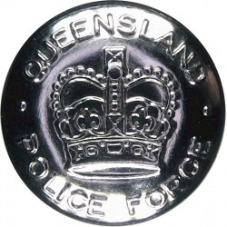 Australia: Queensland Police Force 25mm with Queen Elizabeth's Crown. Chrome-plated Police or Prisons uniform button