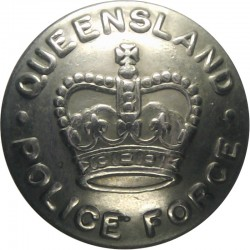 Australia: Queensland Police Force 20.5mm with Queen Elizabeth's Crown. White Metal Police or Prisons uniform button