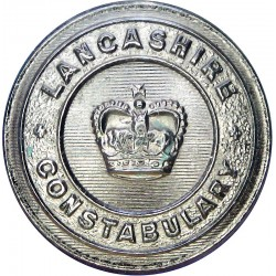 Lancashire Constabulary - Black 25mm - Post-1952 with Queen Elizabeth's Crown. Horn Police or Prisons uniform button