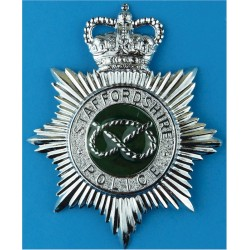 Dorset Police - EiiR Centre - Blackened - Post-1974 Cap Badge Queen's Crown. Chrome-plated Police or Prisons hat badge