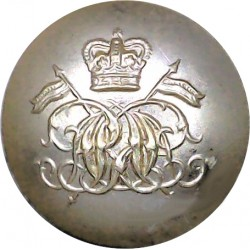9th/12th Royal Lancers (Prince Of Wales's) 25.5mm - Gold Colour with Queen Elizabeth's Crown. Anodised Staybrite military unifor