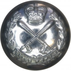 British Colonial Police - Crossed Truncheons 25.5mm with Queen Elizabeth's Crown. Chrome-plated Police or Prisons uniform button