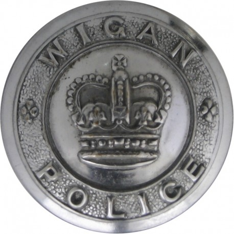 Wigan Police - Crown Centre 24mm - 1952-1969 with Queen Elizabeth's Crown. Chrome-plated Police or Prisons uniform button