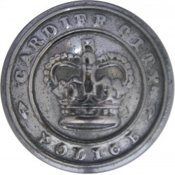 Cardiff City Police 24.5mm - 1952-1969 with Queen Elizabeth's Crown. Chrome-plated Police or Prisons uniform button