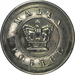 Malta Police - With Inner Ring 23mm - Pre-1901 with Queen Victoria's Crown. White Metal Police or Prisons uniform button