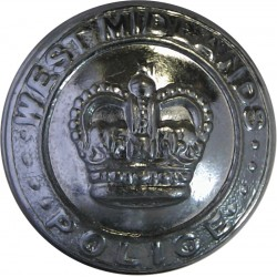 West Midlands Police 23.5mm - Post-1974 with Queen Elizabeth's Crown. Chrome-plated Police or Prisons uniform button