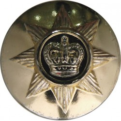 Irish Guards 25.5mm - Gold Colour with Queen Elizabeth's Crown. Anodised Staybrite military uniform button