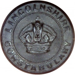 Lincolnshire Constabulary - Black 24.5mm - Pre-1952 with King's Crown. Horn Police or Prisons uniform button