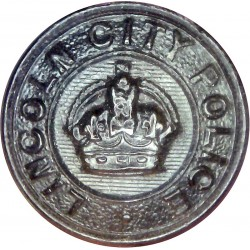 Lincoln City Police - Black 24.5mm - Pre-1952 with King's Crown. Horn Police or Prisons uniform button