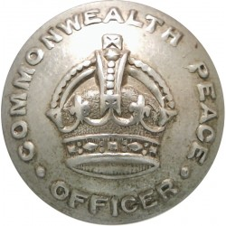 Australia: Commonwealth Peace Officer Guard 25mm - 1925-1952 with King's Crown. White Metal Police or Prisons uniform button