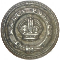 Malta Police (Words On Belt Around KC) 16.5mm - Roped Rim with King's Crown. White Metal Police or Prisons uniform button
