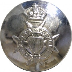 Malta Police (Maltese Cross) 21mm with King's Crown. Silver-plated Police or Prisons uniform button