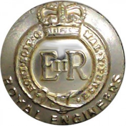Royal Engineers 19.5mm - Gold Colour with Queen Elizabeth's Crown. Anodised Staybrite military uniform button