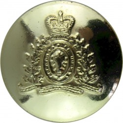Canada: Royal Canadian Mounted Police 16.5mm - Gold Colour with Queen Elizabeth's Crown. Anodised Police or Prisons uniform butt