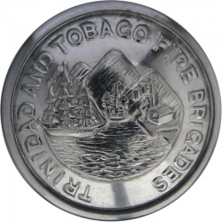 Trinidad And Tobago Fire Brigades 24.5mm  Chrome-plated Fire Service uniform button