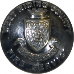 West Riding County Fire Service (with Lettering) 17mm (Shield)  Chrome-plated Fire Service uniform button
