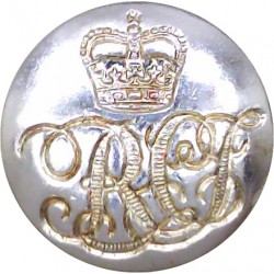11th Hussars (Prince Albert's Own) (Indented Design) 22.5mm - Gold Colour King's Crown. Anodised Staybrite military uniform butt