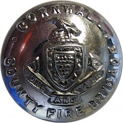 Cornwall County Fire Brigade 16.5mm  Chrome-plated Fire Service uniform button